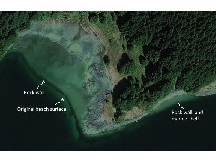 Clam gardens are sometimes visible from Google Earth satellite images. Photo: Dana Lepofsky.